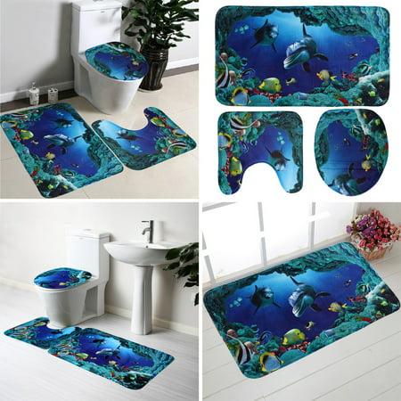 3pcs Bath Non-Slip Mat Set Bathroom Carpets Rug Deep Sea Dolphin Soft Toilet Seat Cover Mat
