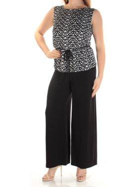 CONNECTED Womens Black Tie Geometric Sleeveless Jewel Neck Peplum Formal Jumpsuit Petites  Size: 8