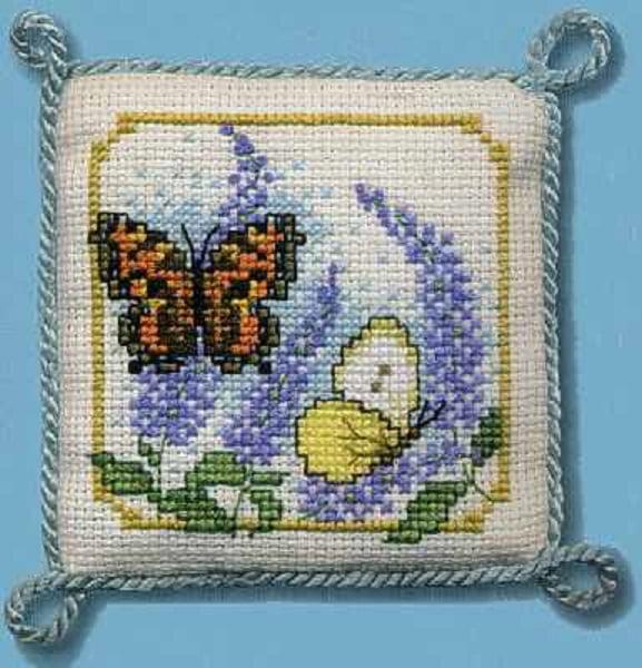 Textile Heritage Pincushion Counted Cross Stitch Kit - Butterflies & Buddleia