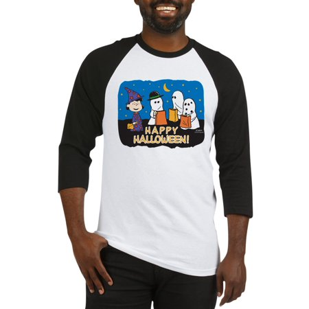 Cute Happy Halloween Logo (CafePress - The Peanuts Gang Happy Halloween Baseball Jersey - Cotton Baseball Jersey, 3/4 Raglan Sleeve)