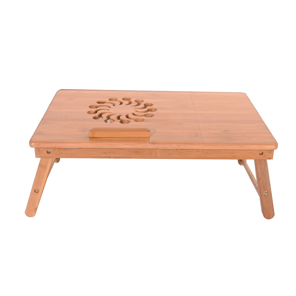 Retro Adjustable Bamboo Laptop Table Lap Desk Bed Computer Tray Stand Portable