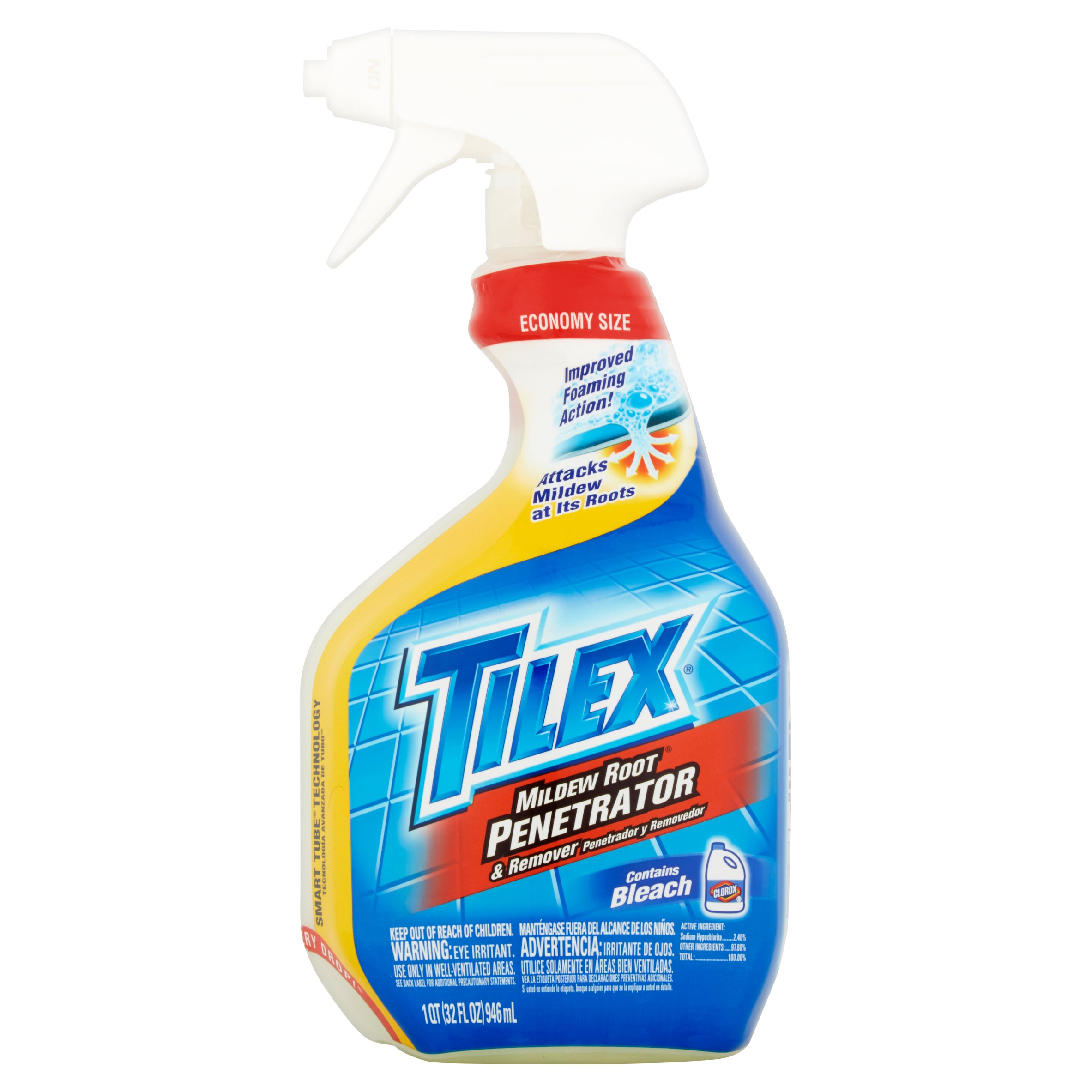 Tilex Mildew Root Penetrator and Remover with Bleach, Spray Bottle, 32 Ounces