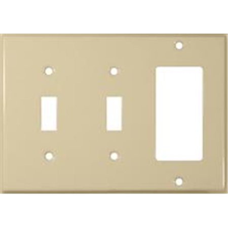 Morris Products 83583 Stainless Steel Metal Wall Plates 3 Gang 2 Toggle 1GFCI Ivory - image 1 of 1