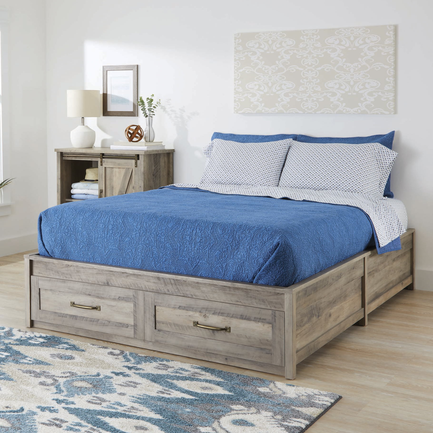 Better Homes Gardens Modern Farmhouse Queen Platform Bed With Storage Rustic Gray Finish Walmart Com Walmart Com
