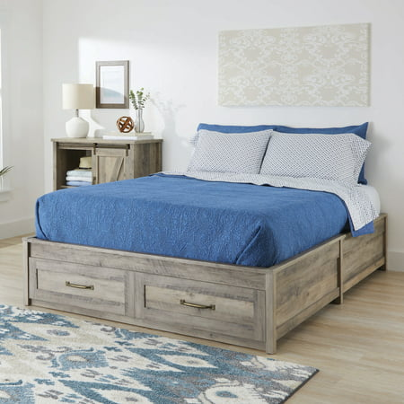 Better Homes & Gardens Modern Farmhouse Queen Platform Bed with Storage, Rustic Gray