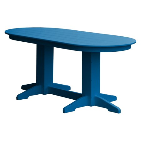 Radionic Hi Tech Rochester Recycled Plastic Oval Dual Pedestal Patio Dining Table (Plastic Patio Tables)