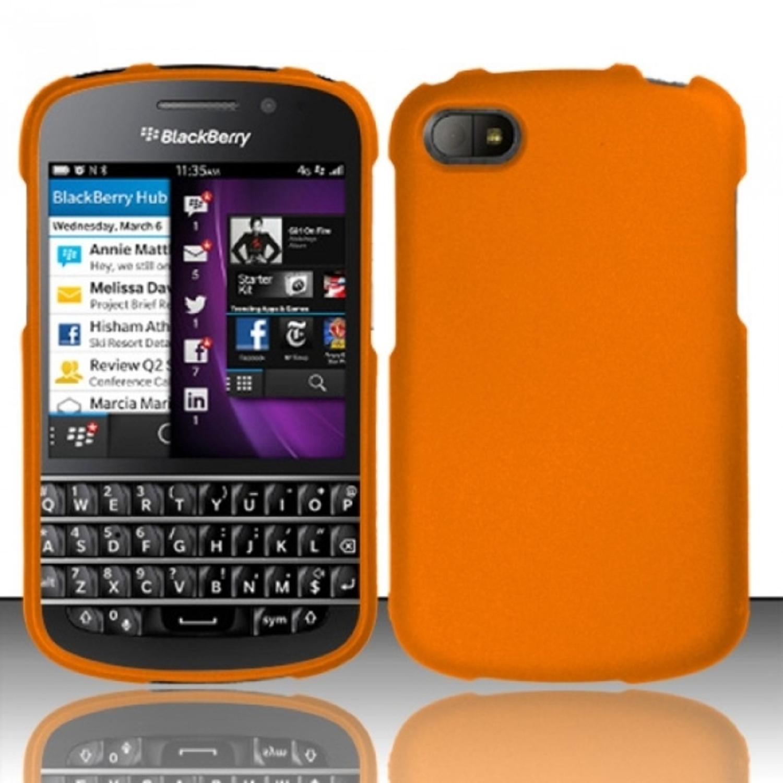Insten Orange Rubberized Hard Cover Case For Blackberry Q10