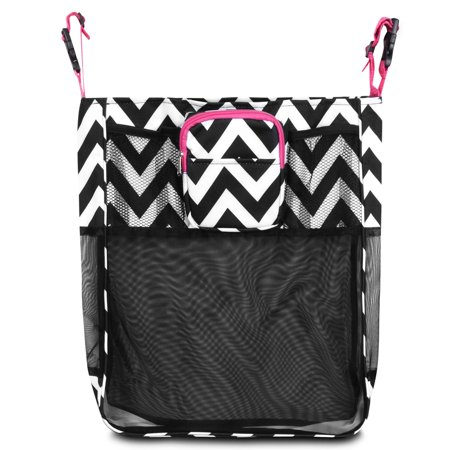 Baby Cart Strollers Bag Buggy Pushchair Organizer Basket Storage Bag by Zodaca for Walk Shopping - Black/White Chevron with Pink Trim