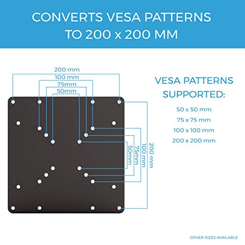 Conversion Kit for 75 x 75 and 100 x 100 mm VESA Patterns to 200 x 100 mm VESA Patterns HumanCentric VESA Mount Adapter Plate for 200 x 100 mm VESA Patterns