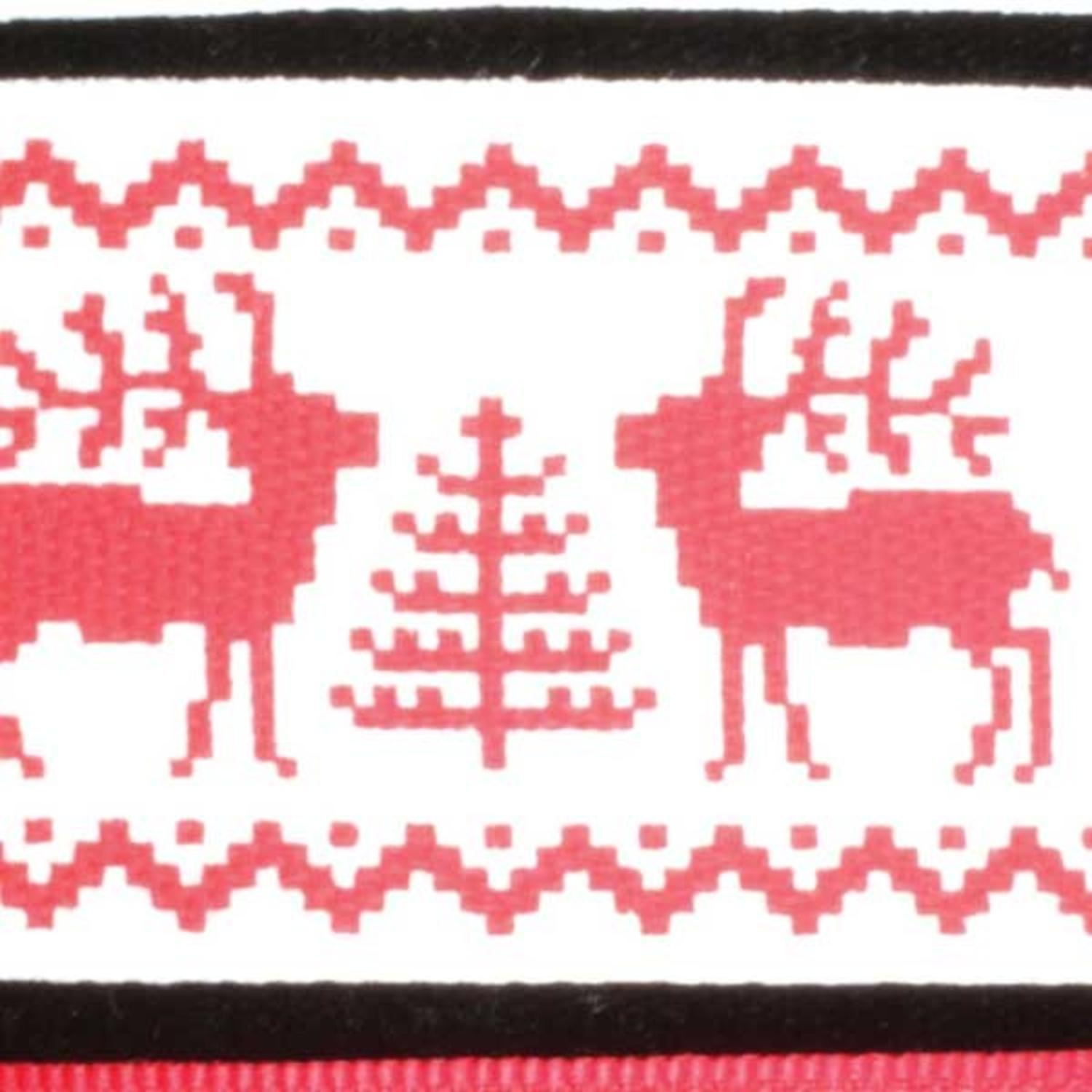 """Festive Celebrating Elks Red and White Wired Craft Ribbon 1.5"""" x 27 Yards"""