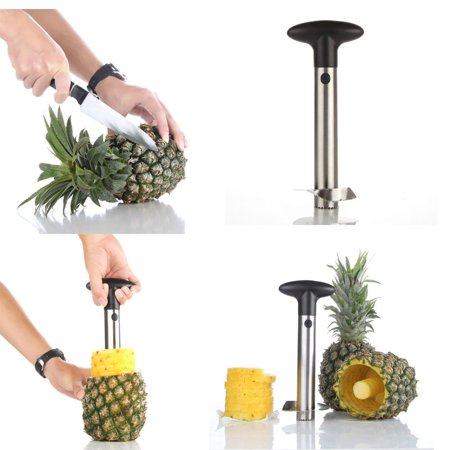 Pineapple Corer Peeler De-corer Stainless Steel Fruit Easy Slicer Cutter Kitchen Tool with Plastic Handle for Home Restaurant Use