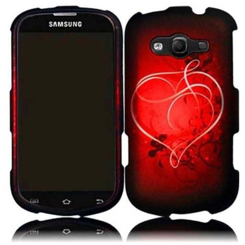Insten For Samsung Galaxy Reverb M950(Virgin Mobile, Sprint) Rubberized Design Cover Case - Heart On Stars