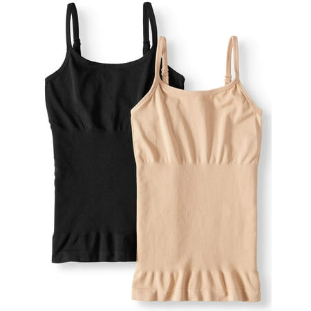 Design Camisole (Real Comfort Women's and Women's Plus Linda 2-Pack Seamless Shaping Camisole )