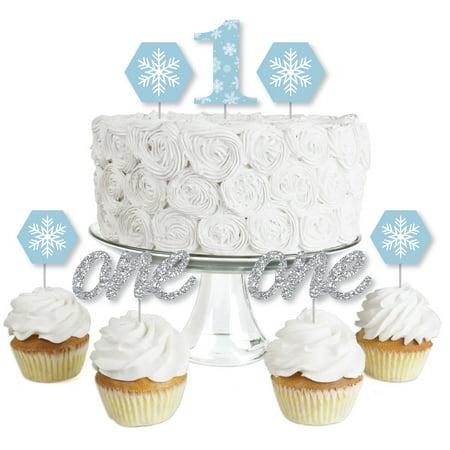 ONEderland - Dessert Cupcake Toppers - Holiday Snowflake Winter Wonderland Birthday Party Clear Treat Picks - Set of - Winter Wonderland Sweet 16 Centerpieces