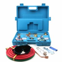 Akoyovwerve Gas Welding & Cutting Kit, Professional Oxygen Acetylene Regulator Welder Victor Type Torch Kit for Welding Cutting Soldering Gauging