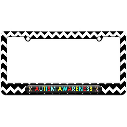 Autism Awareness, Puzzle Ribbons License Plate Tag Frame, Multiple Colors