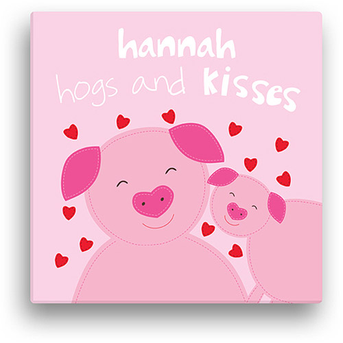 "Sandra Magsamen Personalized Hogs And Kisses Canvas Wall Art, 12"" x 12"""
