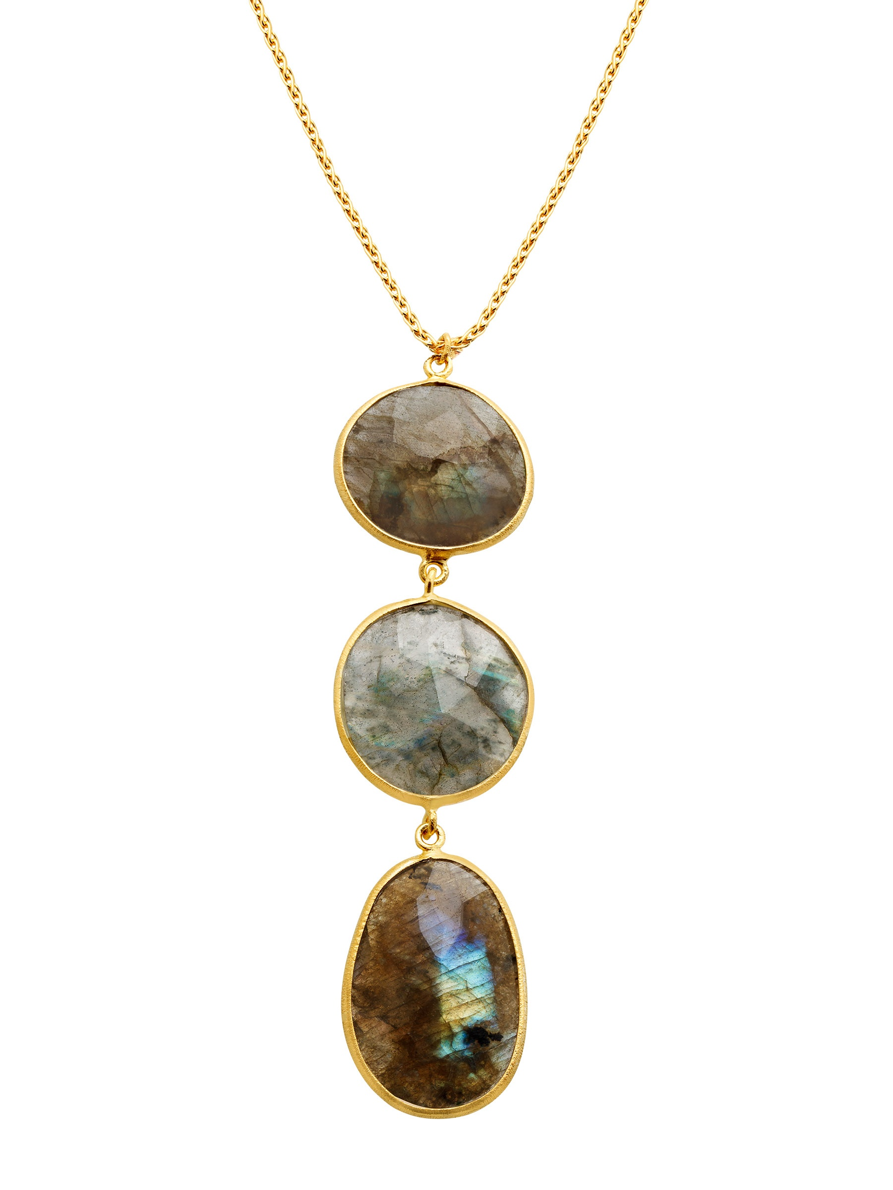 Piara Piara Natural Stone Triple Drop Pendant Necklace In 18kt Gold Plated Sterling Silver Walmart Com Walmart Com