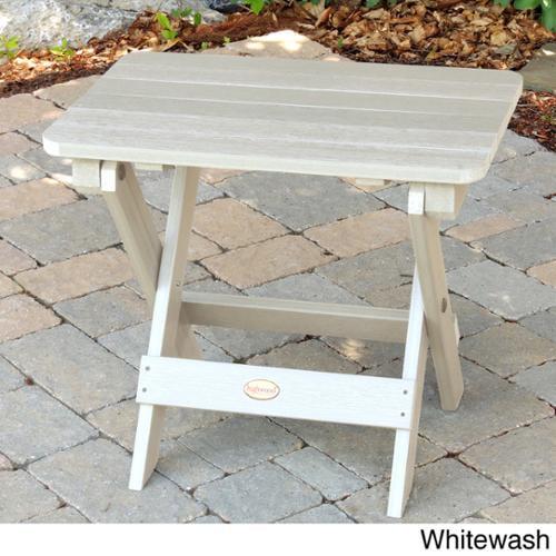 Highwood Eco-Friendly Synthetic Wood Embossed Folding Adirondack Side-Table Whitewash