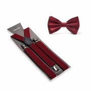 Burgundy Suspenders Bow Tie Matching Set Wedding Prom Burgendy maroon