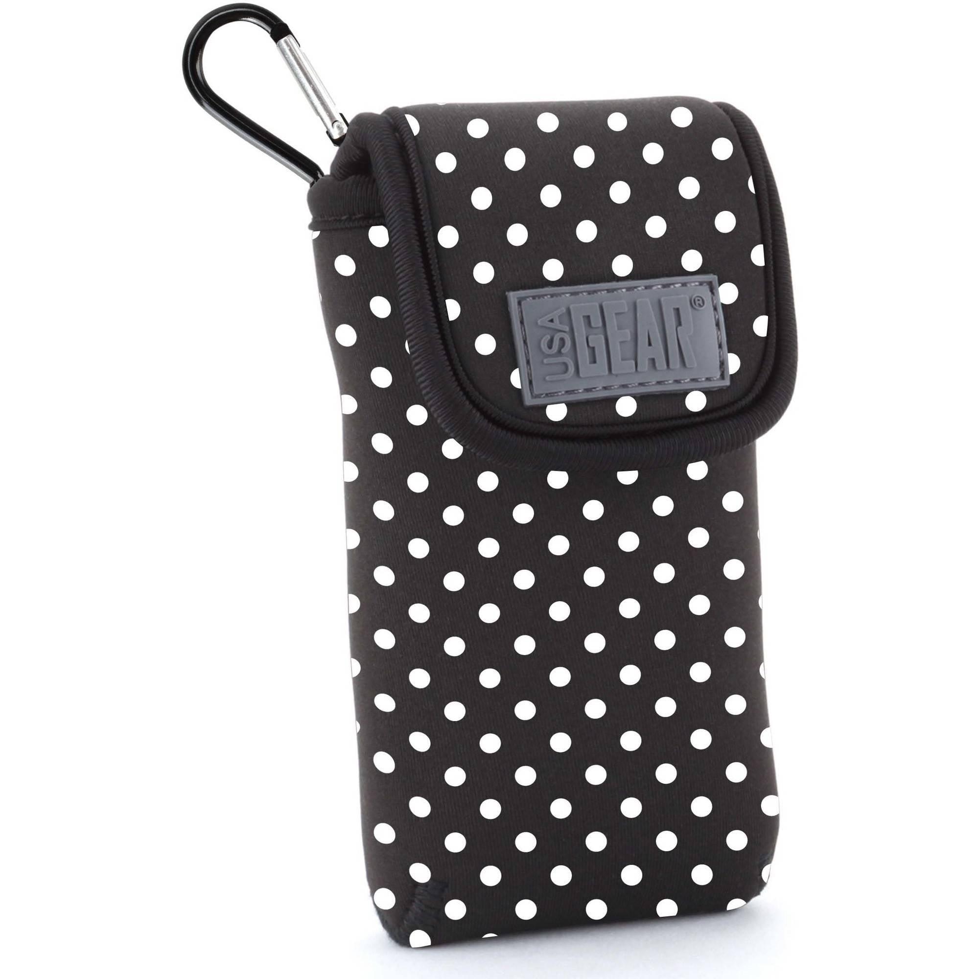 USA GEAR FlexARMOR D50 Portable Pocket Radio Case with Carabiner Clip, Polka Dot
