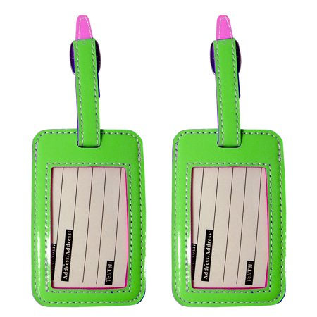 Luggage Tags - Two Tone Travel ID Bag Tags - 2 Set (Light Green- Pink) ()