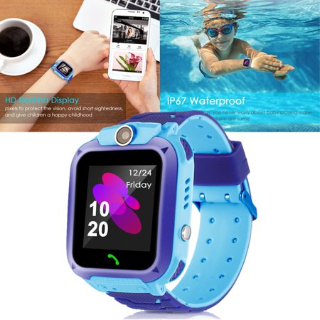 Waterproof Kids Smart Watches with GPS Tracker Phone Call for Boys Girls Digital Wrist Watch, Touch Screen Cellphone with Camera Anti-Lost SOS Learning Toy for Kids Gift