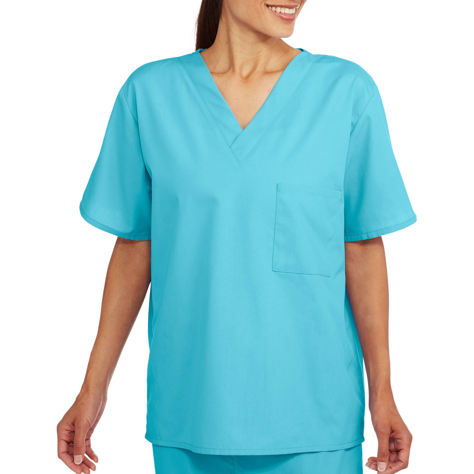 Unisex Short Sleeve V Neck Scrub Top with Pocket
