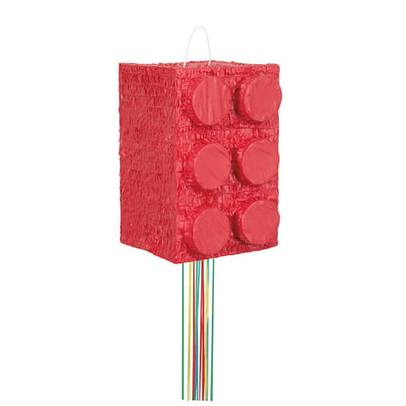 Building Blocks Pinata, Pull String, Red, 10in x 15in