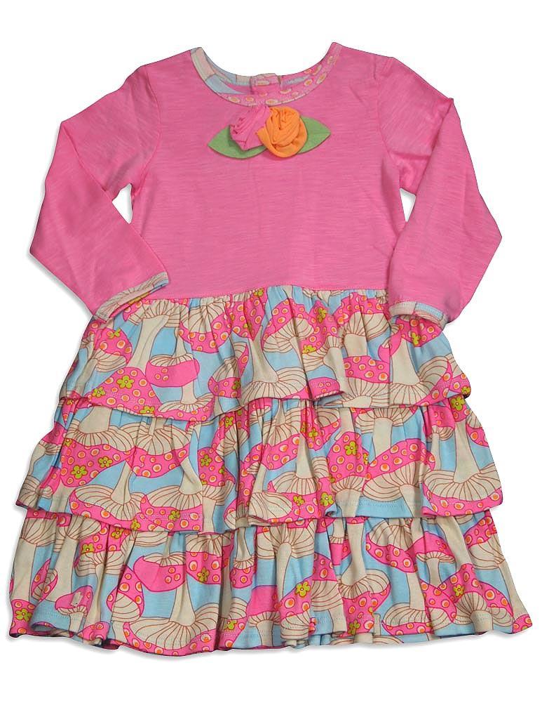Baby Lulu - Little Girls Long Sleeve Ava Mushroom Dress, Pink, Multi 30357-4T Ava Dress Mushroom / 4T