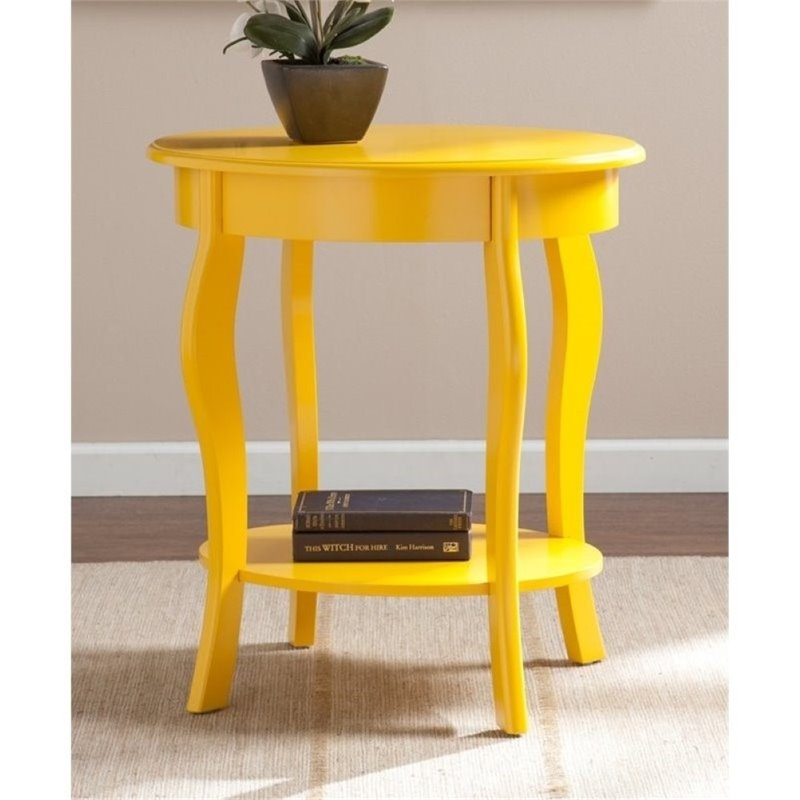 Pemberly Row Watts Oval Accent Table in Yellow