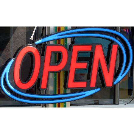 Neon Poster Sign (LAMINATED POSTER Business Open Sign Sign Symbol Bright Neon Open Poster Print 24 x)