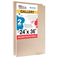 """U.S. Art Supply 24"""" x 36"""" Birch Wood Paint Pouring Panel Boards, Gallery 1-1/2"""" Deep Cradle (Pack of 2)"""