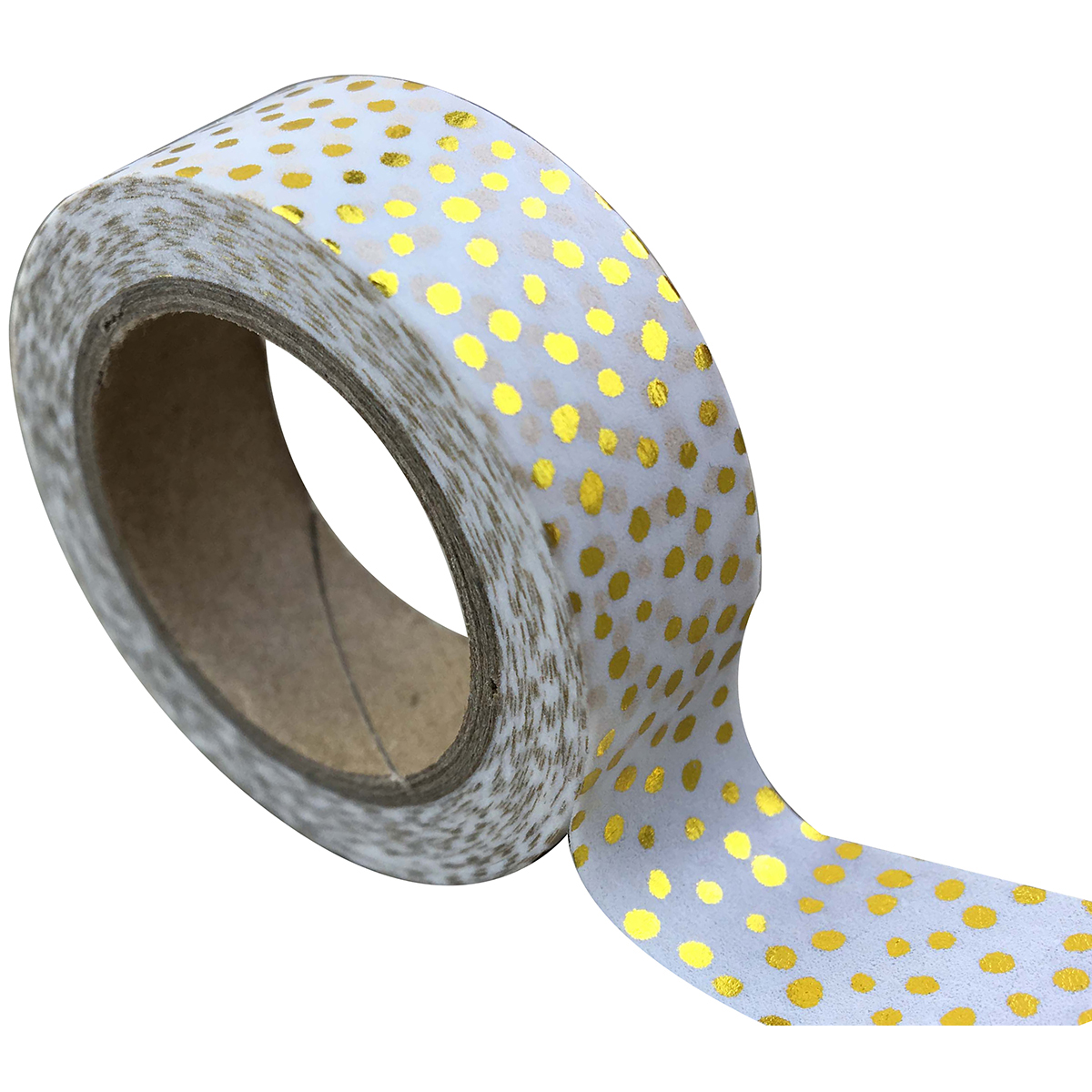 Love My Tapes Foil Washi Tape 15mmx10m-White Gold Dots