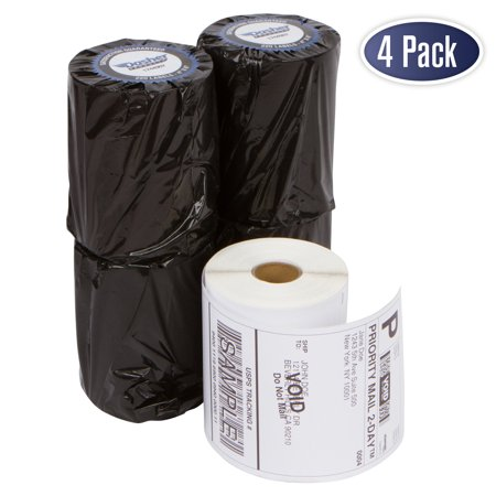 Dymo 1744907 Compatible Shipping Labels - 4 Inch x 6 Inch Thermal Postage Labels for 4XL , Water & Grease Resistant, Ultra Strong Permanent Adhesive, Perforated, BPA Free, 220 Labels per Roll (4 Pack)