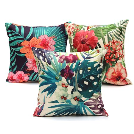 Meigar Tropical Plant Flamingo Couch Cushion Pillow Covers 18x18 Square Zippered Cotton Linen Standard Decorative Waist Throw Pillow Covers Slip Case Protector for Sofa Chair Seat](Flamingo Outdoor Decor)