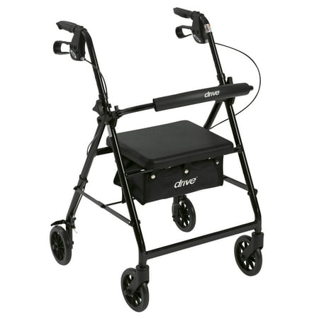 "Drive Medical Rollator Rolling Walker with 6"" Wheels, Fold Up Removable Back Support and Padded Seat, Black"