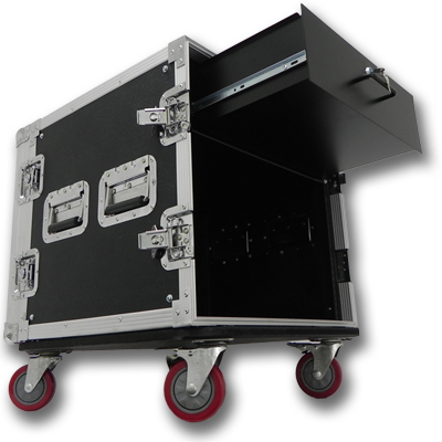 Seismic Audio 10 SPACE RACK CASE WITH 3U LOCKING DRAWER Amp Effect Mixer PA/DJ PRO CASTERS - SAR102rd3u