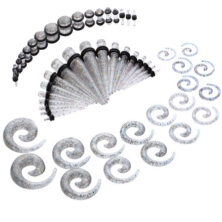 BodyJ4You 54PC Gauges Kit Ear Stretching 14G-00G Rainbow Glitter Spiral Tapers Plugs Piercing Set