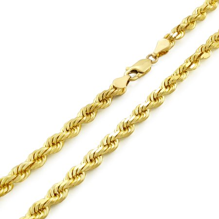 "14k Yellow Gold 5mm Solid Diamond Cut Rope Chain Pendant Necklace, 20""- 30"""