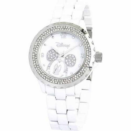 Disney Mickey Mouse Women's Enamel Watch, White Bracelet