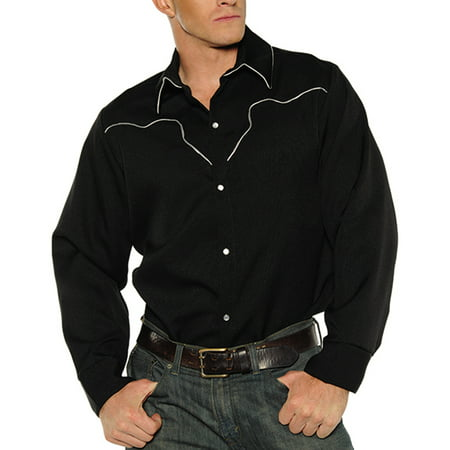 Black Fancy Western Texan Rodeo Cowboy Adult Mens Costume Shirt](Halloween Fiesta Texas)