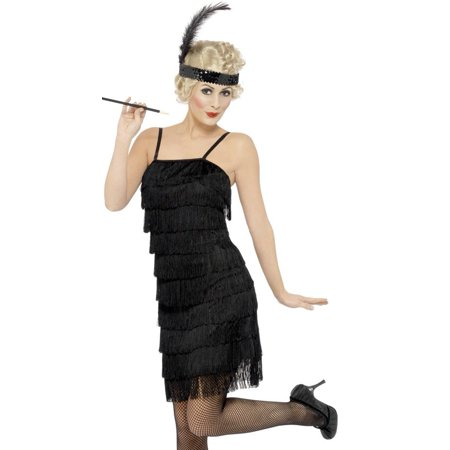 Adult's Womens 1920s Layered Fringe Flapper Girl Black Dress Costume - 1920s Prohibition Costume