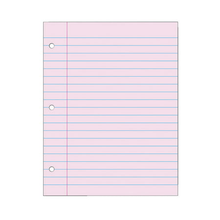 School Smart Filler Paper, 3-Hole Punched, 8-1/2 x 11 Inches, Pink, 100 - Neon Pink Paper