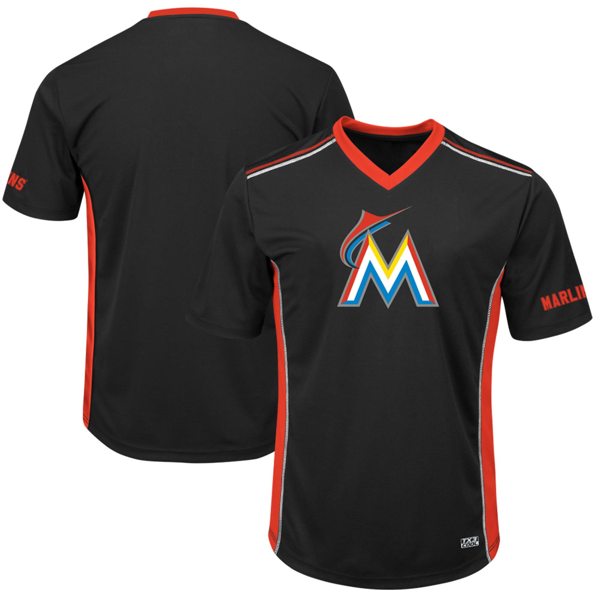 Men's Majestic Black/Red Miami Marlins Big & Tall Memorable Moments T-Shirt