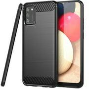 CoverON For Samsung Galaxy A02S Phone Case, Slim Lightweight Flexible TPU Minimal Cover Carbon Fiber, Black