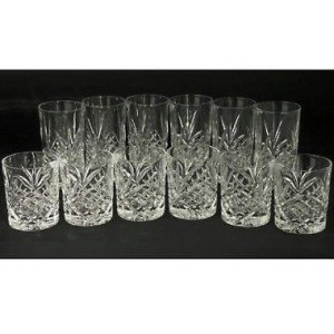Dublin Assorted Non-Leaded Crystal Starburst Design Beverage Drink Glasses, Set of 12 10 oz. Highballs and 8 oz. Double Old Fashioneds