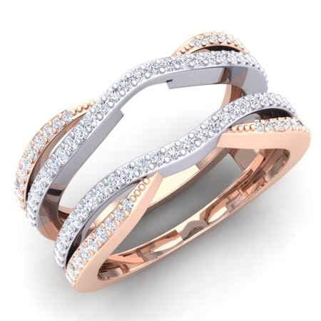 Dazzlingrock Collection 0.50 Carat (ctw) 14K White & Two Tone Diamond Wedding Band Guard Double Ring 1/2 CT, Rose Gold, Size 9.5 14k Two Tone Setting