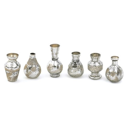 Hip Vintage Mercury Mini Bud Table Vase - Set of 6 - Mini Bud Vases
