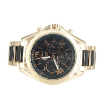 Platinum Mens Watches Black Link Band Rose Gold Tone Black Dial Brand New ()